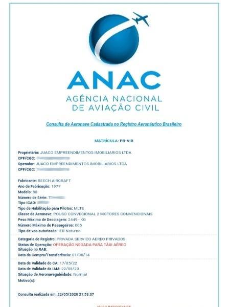 Registro de aeronaves PR-VIB na empresa Anac - Reprodução