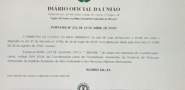 A ordenança que demitiu a cabeça do Ibama é do mesmo dia que a mensagem de Bolsonar - Rubens Valente