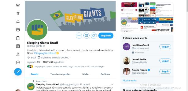 """""""Estou cansado de assistir notícias falsas em combate"""", diz o autor da revista Sleeping Giants BR - 23.05.2020."""
