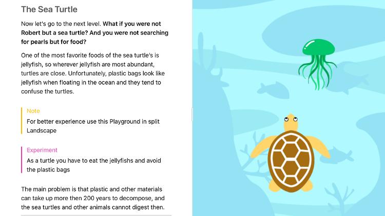 Screenshot do jogo Sea Turtle, criado pela brasileira Jessica Matsuura e premiado pela Apple - Press Release - Press Release