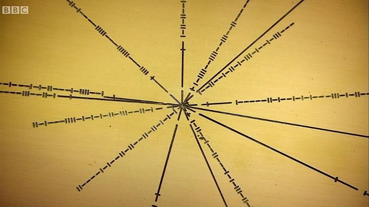 Inclinação - A sequência de traços verticais e horizontais que você vê ao lado das linhas são números binários que indicam as frequências de pulso necessárias para identificar o pulsar - BBC - BBC